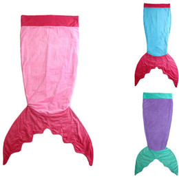 Wholesale Double Kids Sofa - 8 Colors Double Layer Kids Blanket Mermaid Shape Tail Blanket Girls Sleeping Bag Home Bed Sofa Blankets Multi Color