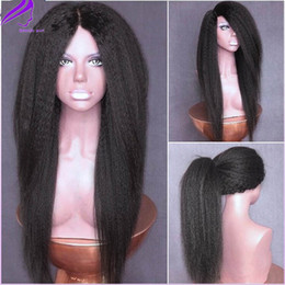 Wholesale Wig Cosplay White - cosplay wig Glueless brazilian hair italian yaki synthetic wigs for black women kinky straight synthetic lace front wig