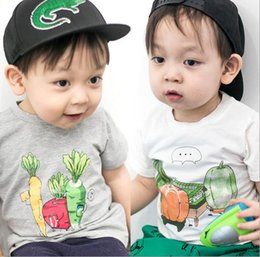 Wholesale Novelty Fruit Vegetables - INS 2017 New Kids Adorable Clothes Boys Girls Summer Short Sleeve Cartoon Vegetable Fruit Printed T-Shirt Round Neck Childen T-Shirt Q0963