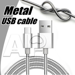 Wholesale Usb Wires - Micro usb Phone Charger Cable Type C V8 Cables Support Fast Charger Pass 2A Metal Data Sync Charging Wire For Samsung Galaxy S8