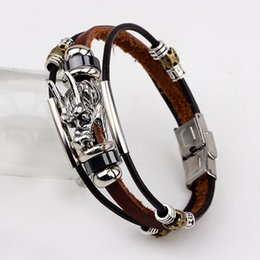 Wholesale Chinese Dragon Plates - Male Cool Triple Strands Genuine Leather Bracelet Chinese Dragon Head Charm Cuff Bracelets Lucky Protection Jewelry