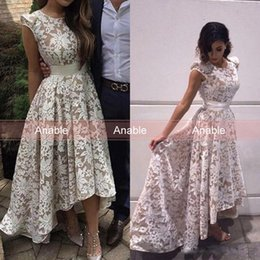 Wholesale Hilo Prom Dresses - 2017 New Elegant High low Evening Dresses Jewel Capped Sleeves White Champagne Lining Lace Appliques Hilo Formal Party Prom Gowns Custom