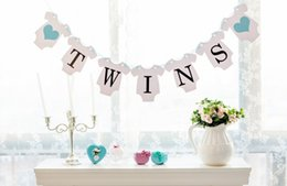 Wholesale twin prop - Wholesale- Free Shipping 1 Set Twins Banner Baby Shower Garland Sign Photo Props Kids Birthday Party Decoration