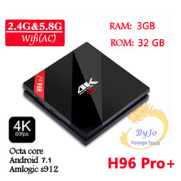 H96 Pro + 2G 3G DDR3 16G 32G Flash 2.4G 5GHz Wifi HD2.0 Iptv 4K box S912 tv box Octa Core Android 7.1 smart tv android box ? partir de fabricateur
