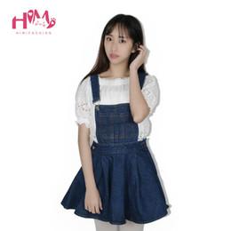 Wholesale Denim Overalls For Ladies - Wholesale- Vivi Japan Strap School Denim Dress For Ladies Dark Blue Removable Summer Detachable Student Overalls Dress Women Kawaii Clothes