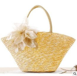 Wholesale Knitted Flowers For Sale - Cheap Bohemian Woven Straw Handbag Shoulder Bag Bags Seaside Vacation Beach Bags Women Lady Shoulder Bags High-capacity Totes For Sale