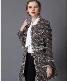 Wholesale luxury black velvet jacket - Women Winter Woven velvet sexy OL ladies boutique tassel Luxury famous fashion brand Retro Beautiful soft long Ladies Slim suit jacket
