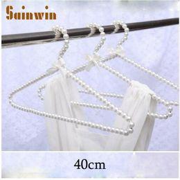 Wholesale Plastic Adult Hangers - Sainwin 10pcs lot 40cm Adult Plastic Hanger Pearl Hangers For Clothes Pegs Princess Clothespins Wedding Dress Hanger