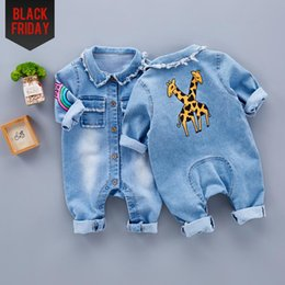 Wholesale Toddler Animal Clothing - Little Baby Toddler Clothes romper jeans Jumpsuit Overalls Rompers with cute Rainbow Giraffe pattern Unisex