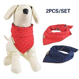 Wholesale Small Bibs - 2PCS Free Shipping Pet Dog Cat Puppy Bandana Collar Baby Bib Triangle Head Scarf Accessories Embroidery Neckerchief for Small to Large Breed