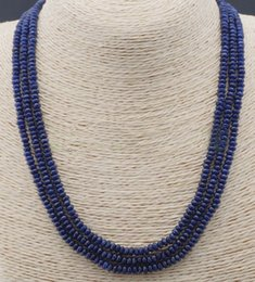 Wholesale Natural Blue Sapphire Beads - Hot natural 3 Rows 2X4mm FACETED DARK Blue Sapphire BEADS NECKLACE