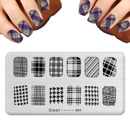 Wholesale Nail Stamp Halloween - Wholesale-Fashion Plaid Ail Template Nail Art Plate Stainless Steel Image Halloween Skull Nail Art Stamping Template DIY Nail Tools