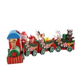 Wholesale Metal Train Sets - Wholesale-New Cheristmas Hot 4 Pieces set Wood Christmas Xmas Train Decoration Decor Gift Candy Color Sweet Kids Love