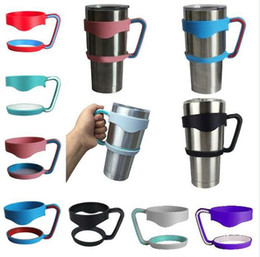 Wholesale Wholesale Plastic Travel Cups - HOT Portable Plastic Black Water Bottle Mugs Cup Handle For YETI 30ozTumbler Rambler Cup Hand Holder Fit Travel Drinkware