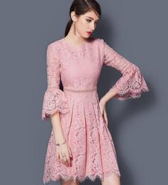 Wholesale Girl S Vintage Dresses - Summer Women's Fashion Pink Lace Party Dresses Ladies' Elegant Trumpet Sleeve Princess Dresses Girls 3 4 Sleeve High-Waisted Tassels Dress
