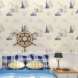2019 paesaggistica naturale Wholesale- # 6222-Beach Blu carta da parati barca non tessuto Wallpaper bambini, per la decorazione della parete dell'hotel bar negozio di casa, carta da parati 3D