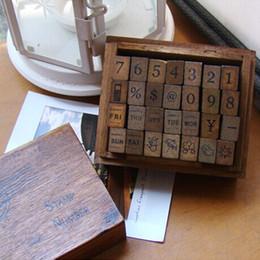Wholesale Photo Albums Box Sets - Wholesale- (28 PCS set)Multi-functional decorative stamp+week+weather+Digital Mini stamps gift box sets Crafts diy scrapbooking Photo Album