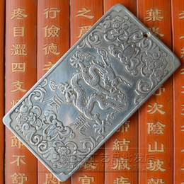 "Wholesale Tibet Silver Bullion - Chinese Old ""12 Zodiac - Dragon"" tibet Silver Bullion thanka amulet 136g"