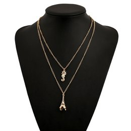 Wholesale Eiffel Jewelry - 2017 new Eiffel Tower Pendant collar choker Collarbone chain necklace girls Gold plated Pendant Necklaces statement Jewelry wholesale