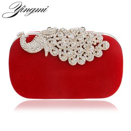 Wholesale Bridal Party Totes - Luxury diamonds peacock women clutch bags velvet rhinestones evening bags for wedding bridal party wallet with chains