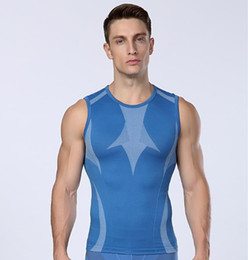 Wholesale Excercise Shirt - Wholesale- mens compression vest tight base layer skin gilet Fitness Excercise vest sleeveless shirts underwear