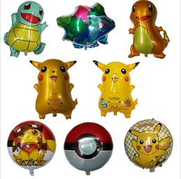 Wholesale Pikachu Party - Poke Foil Balloons Inflatable toys Pikachu pokeball Bulbasaur Charmander Squirtle Balloons Children Christmas Party