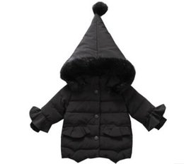 Wholesale Wholesale Canvas Coats - KIDS DOWN COAT GOOD QUALITY FASHION NEW ARRIVAL PINK WHITE AND BLACK COLOR WITH HAT OUTWEAR WINTER AND CHRSITIMAS NEW YEAR80-110CM