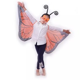 Wholesale Girls Butterfly Mask - 9 Colors Fabric Wings Monarch Butterfly Cape with Mask and headband 3 pcs set for Kids Christmas Halloween Cosplay Prop Costume A08