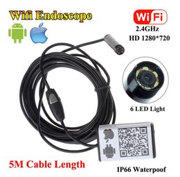 Wholesale Borescope Iphone - DHL free 5M Wifi Borescope 9mm Inspection Endoscope Snake Camera For iPhone Android IOS