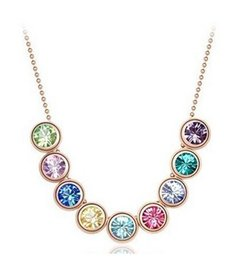 Wholesale Gold Swarovski Crystal Pendant - Wholesale 18K Gold Plated Beads Necklace Austrian Crystal Charm Necklace Made With Swarovski Elements for Women Nice Gift