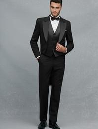 Wholesale long tails jacket - Wholesale- 5Pieces(Jacket+Pant+Handkerchief+Bowtie+Vent) Peaked Lapel Black Swallow Tailed Coat Formal Custume Made Fashion Slim Men Suits