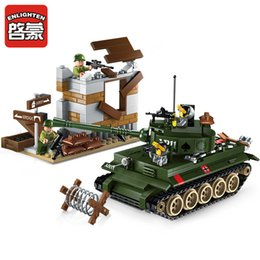 Wholesale Model Tanks - Classic World War 2 Panzerkampfwagen Tiger Tank Model US Army Soldier Building Blocks Bricks Toys For Children Gift