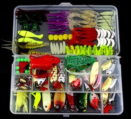 Wholesale Wholesale Fishing Lure Kits - 136pcs Fishing Lure Kit Mixed Minnow Popper Spinner Spoon Lure With Hook Isca Artificial Bait Fish Lure Set Pesca out227 DHL