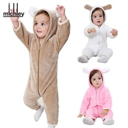 Wholesale Flannel Baby Clothes - Cute Baby Romper 2017 Flannel Solid Clothes Winter Baby Soft Clothing Infant Hooded Outfit Warm Jumpsuits Clothing