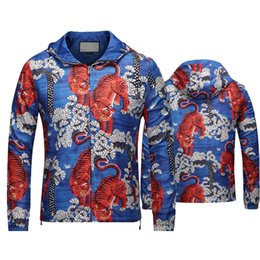 Wholesale Hooded Long Sleeve Shirt - 2017 Italy suprem Luxury T-shirt blind love tee white flame tiger printing Tropical plants High street fashion clothing black gray 2XL