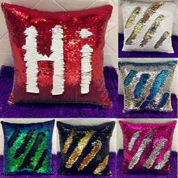 Wholesale Hot Pink Pillow Cases - Wholesale- 2017 Hot Reversible Swipe Mermaid Sequin Glitter Throw Pillow Case Hot