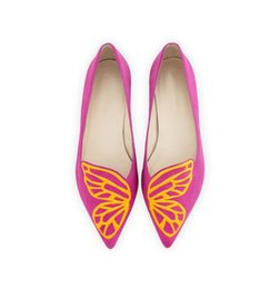 Wholesale Silver Butterfly Wedding Decorations - 2017 Spring and Summer Flat Shoes Pointed Shallow Mouth Slip-on Casual Women's Shoes with Butterflies Wings Pattern Decoration