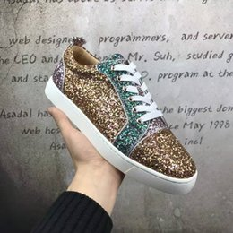 Wholesale Womens Glitter Boots - New 2017 High Quality Mens Womens Patchwork Glitter Low Top Red Bottom Sneakers,Brand Flat Boots Cool Punk Casual Shoes 36-46
