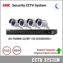 Wholesale E2 Kit - HIKVISION 4MP Security CCTV System NVR DS-7608NI-E2 8P & IP camera DS-2CD2042WD-I NVR Kit support Update Ezviz