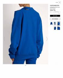 Wholesale Shoulder Cooling - 2017 new arrival justin bieber VETEMENTS men cool Broken shoulder Sweatshirt hiphop kanye west Fashion Round collar Sweatshirts