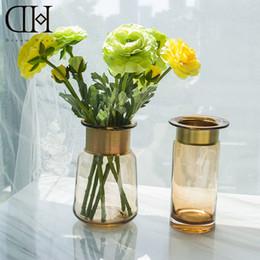 Wholesale Modern Round Vase - DH Golden round glass vase home decoration europe style floor vase flowerpot glass marriage vase wedding decor
