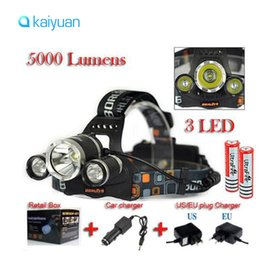 Wholesale Led Head Lights For Cars - 5000LM JR-3000 3X CREE XML T6 LED Headlamp Headlight 4 Mode Head Lamp + AC Car Charger +2*18650 battery for bicycle light Sport lighting