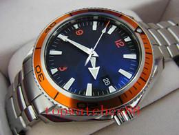 Wholesale Orange Planet Ocean - 2017 Luxury MENS watch men sapphire co-axial Automatic Orange Ceramic Bezel planet ocean Stainless steel Original Clasp Mens Watches