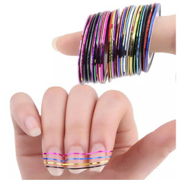 Wholesale Nail Art Rolls Striping - Mixed Colors Rolls Striping Tape Line Nail Art Tips Decoration Sticker beauty Decoration Sticker Nails Care Art Accessories