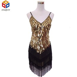 Wholesale Gatsby Costumes - Wholesale- Shining V Neck Stage Clothing Costume Latin Dance Dresses Women's Art Deco 1920s Gatsby Tassel Fringe Flapper Backless Dress