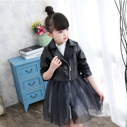 Wholesale Leather Jackets For Children Girls - Spring Fashion Kids Jacket PU Leather Girls Jackets Clothes Children Outwear For Baby Girls Boys Clothing Zipper Coats Costume