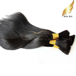 Wholesale Virgin Peruvian Straight Hair Bulk - Peruvian Virgin Human Hair Bulks Natural Color Straight Weaves 2PC Top Grade Human Hair Extensions Bellahair