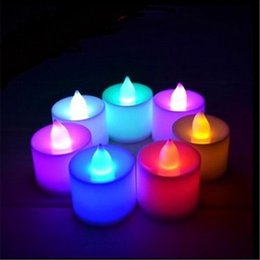 Wholesale Electronic Candle Tea Lights - LED Electronic Candle Tea Light Lamp Many Color LED Candle Lamp Electronic Candle Night Light Party Wedding Christmas Festival Lamp