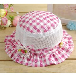 Wholesale Beanie Kids Clothes - Panama Baby Hat Plaid Outdoor Bucket Hat Fashion Flower Kids Cap Sun Beach Cute Beanie Boy Girl Vacation Cap Baby Girls Clothing