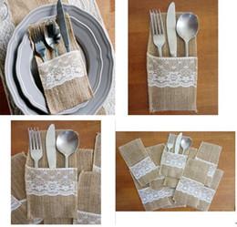 Wholesale Burlap Lace - Wholesale-12pcs wedding table decoration Table DecorationAccessories burlap Silverware Holders country wedding jute lace pouch cover
